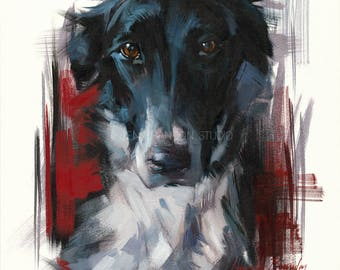 Dog Portrait in Red Giclée Fine Art Print