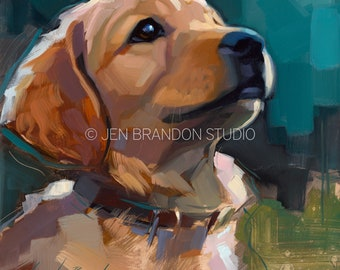 Golden Retriever Puppy - Original Oil Painting
