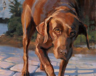 Chocolate Lab Pet Portrait Fine Art Print