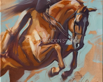 Horse Art Show Jumper - Original Oil  Painting