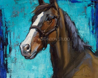 Horse Portrait With Blaze Giclée Fine Art Print