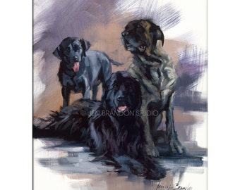 Dog Art - Matted Print of Original Oil Painting, Dog Art, Animal Lovers, Black Dogs, Animals, Dane, Lab,
