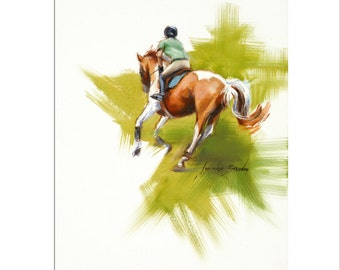 Horse Art - Matted Print of Original Oil Painting - Equestrian, Equine, Horses, Animal Lovers, Rider, Riding, Racing, Girl, Boy