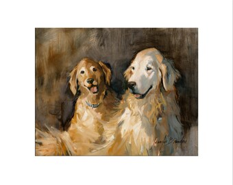 Golden Retriever Dog Art - Matted Print of Original Oil Painting - Dogs, Puppy, Animal Lovers