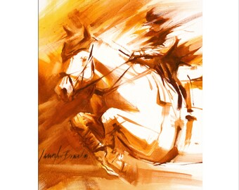 Horse Art - Matted Print of Original Oil Painting - Equestrian, Equine, Rider, Riding, Racer, Jumper, Horses, Animals, Boy, Girl