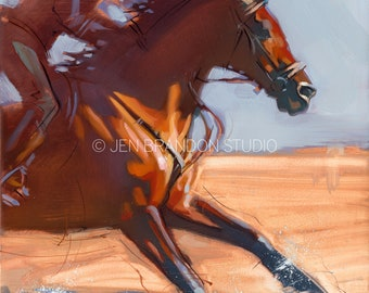 Bay Horse Running Through Ocean Art - Original Oil  Painting