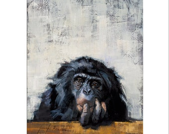 Animal Art - Matted Print of Original Oil Painting - Animal Lovers, Chimp, Chimpanzee, Happy Art, For Wall, Home, Money, Animals, Chimps