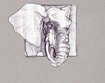Note Cards - Set of 10 Greeting Cards - Artisan Cards -Elephant, Animals, Stocking Stuffers, Christmas, Gifts, Art, Homemade