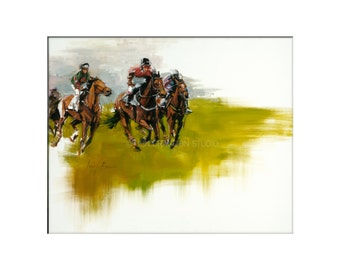 Horse Art - Matted Print of Original Oil Painting - Equestrian, Equine, Riding, Racing, Competition, Horses, Horse Lovers, Animals,