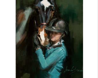Horse Art - Matted Print of Original Oil Painting - Horses, Equestrian, Equine, Rider, Racing, Girl, Animal Lovers