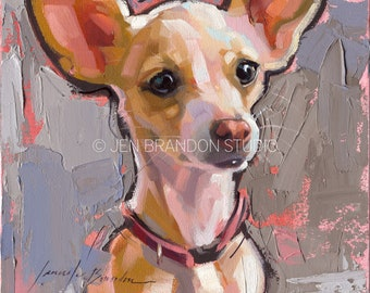 Chihuahua Decor Dog Pet Portrait - Original Oil Painting