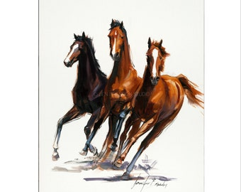 Horse Art - Matted Print of Original Oil Painting - Horses, Equestrian, Equine, Rider, Racers, Animal Lovers, Animals, Farm