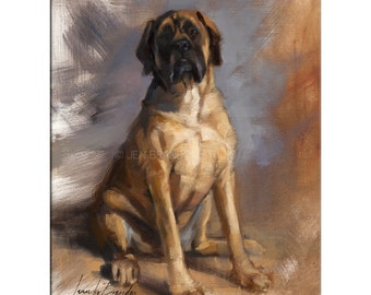 Mastiff Dog Art - Matted Print of Original Oil Painting - Dogs, Animal Lovers, Happy Art, Wall Decoration,