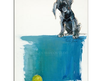 Dog Art - Matted Print of Original Oil Painting - Puppy, Dogs, Animal Lovers, Dane, Boy, Girl, Happy Art, Tennis Ball, Happy, Fun