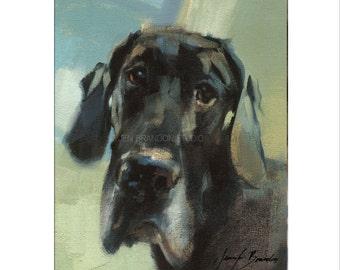 Great Dane Dog Art - Matted Print of Original Oil Painting-Dogs, Danes, Happy Art, Wall Decoration