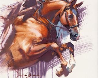 Bay Horse Jumping Giclée Fine Art Print
