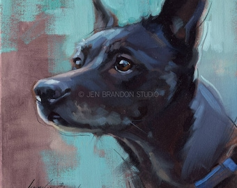 Black Dog Pet Portrait Giclée Fine Art Print