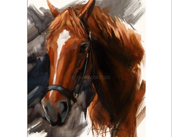 Horse Art - Matted Print of Original Oil Painting - Horses, Stallion, Equine, Equestrian, Animal Lovers, Water, Dramatic Art