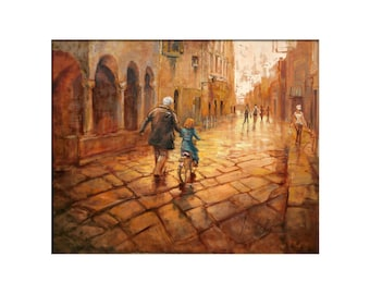 Streets of Sienna, Italy Art -  Matted Print of Original Oil Painting - Street, Road, Friends, Travel, Europe, Italian, Father, Girl Art