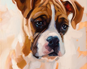 Boxer Pup - Original Oil Painting