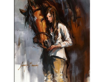 Horse and Girl Art - Matted Print of Original Oil Painting, Riding, Equestrian, Equine, Horses, Animal Lovers