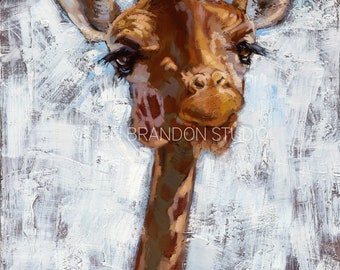 Giraffe Portrait Home Decor Animal Portrait - Original Oil Painting