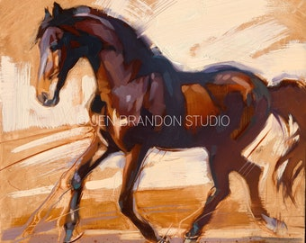 Bay Horse Running Art - Original Oil  Painting
