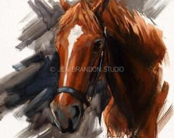 Christmas Wrap Horse Portrait Giclée Fine Art Print