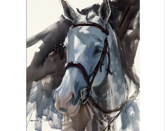 Horse Art - Matted Print of Original Oil Painting - Gray Horse, Animal Lovers, Horses, Equestrian, Equine, Rider, Racing