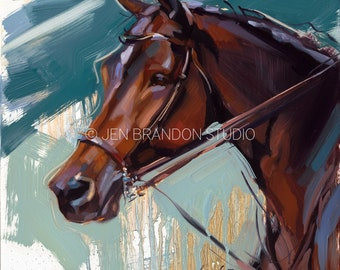 Bay Horse with Star Portrait - Original Oil  Painting