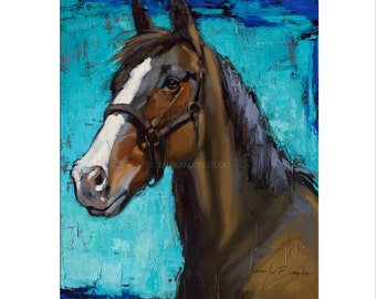 Horse Art - Matted Print of Original Oil Painting, Animal Lovers, Equestrian, Equine Art, Horses, Brown Horse, Riding, For Her, For Him