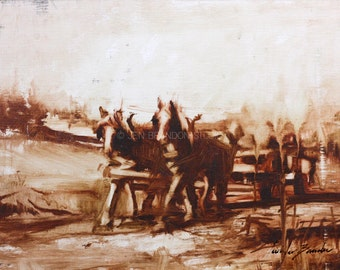 Hull's Draft Horses at Work Oil Painting