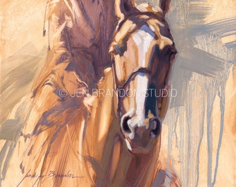 White Blaze Horse Portrait - Original Oil  Painting