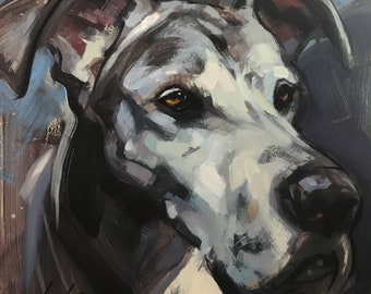 Great Dane Portrait - Original Oil Painting