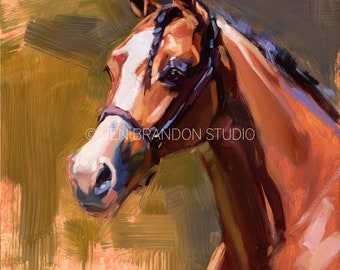 Bay Horse with White Blaze Portrait - Original Oil  Painting
