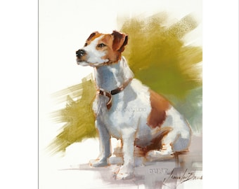 Jack Russel Dog Art - Matted Print of Original Oil Painting - Dogs, Animal Lovers, Happy Art, Boy, Girl, Wall Decoration