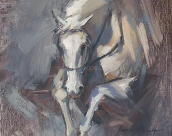 Gray Horse Jumping Giclée Fine Art Print