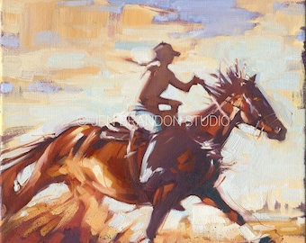 Barrel Racer Horse Portrait - Original Oil  Painting