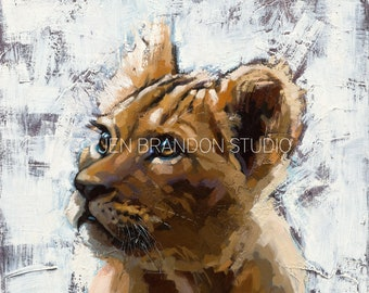Lion Cub Portrait Home Decor Animal Portrait - Original Oil Painting