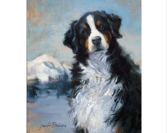 Bernese Mountain Dog Art - Matted Print of Original Oil Painting - Dogs, Animal Lovers, Happy Art, Black and White, Fur, Boy, Girl,