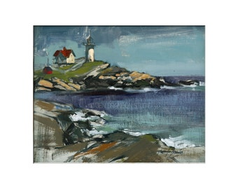 Landscape Art - Matted Print of Original Oil Painting - Landscape, CapeCod, Lighthouse, New England, Water, Scenic, Water, For Wall