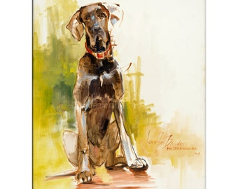 Mac The Great Dane, Dog Art - Matted Print of Original Oil Painting - Puppy, Dogs, Animals, Animal Lovers, Paws, Fur, Danes