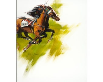 Horse Art - Matted Print of Original Oil Painting - Equestrian, Equine, Horses, Animal Lovers, Rider, Racing, Riding