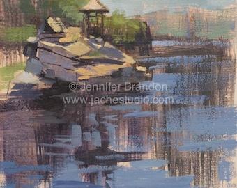 Gazebo Reflections at Mohonk Mountain Lake - Plein Air Oil Painting by Jennifer Brandon