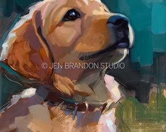 Golden Retriever Puppy - Original Oil Painting