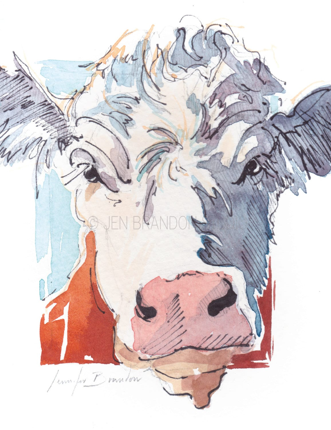 Note Cards - Set of 10 Greeting Cards - Artisan Cards -Cow, Animals ...