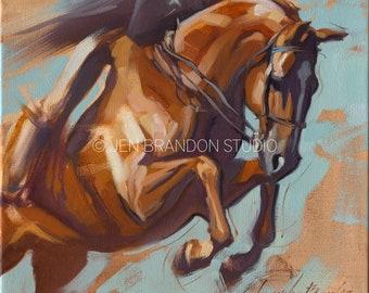 Horse Art Show Jumper - Original Oil  Painting