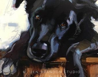 Black Puppy - Original Oil Painting