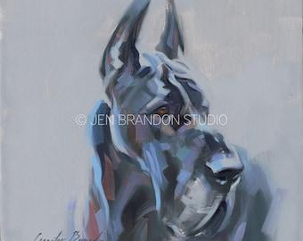 Great Dane Art Dog Pet Portrait - Original Oil Painting