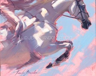 Gray Jumper Show Horse Portrait - Original Oil  Painting
